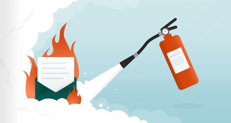 Illustration with burning letter and fire extinguisher